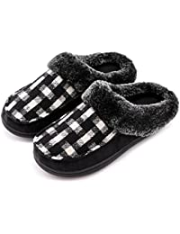 Men's & Women's Comfy Wool Plush Fleece Slip On Memory Foam Clog House Slippers w/Plaid Upper Indoor, Outdoor...