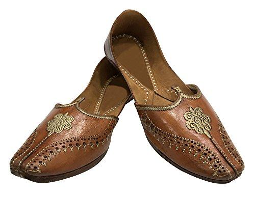Ethnic Mojari Style Punjabi Maharaja n Khussa Shoes Mens Old Jutti Hobo Look Brown Step 7xA5wvzz