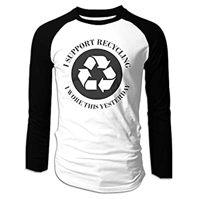 Aiquningc Men's I Support Recycling I Wore This Yesterday Long Sleeve Jersey Shirt Baseball Tee Raglan T-Shirts Black