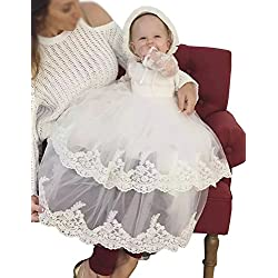 Aorme White Baby-Girls Christening Dresses with Bonnet Christening Gowns Long Tulle Lace Edge 12MWhite