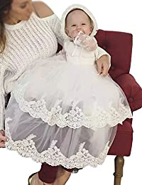 Aorme Baby-girls Christening Dresses with Bonnet Long Tulle Lace Edge