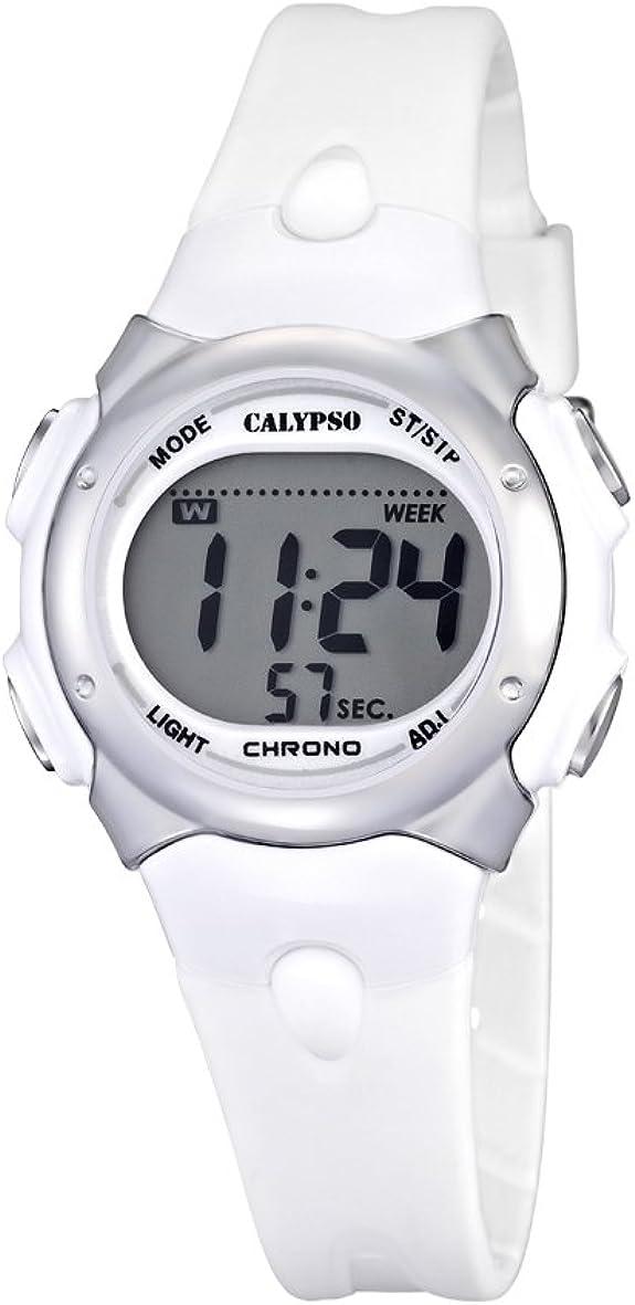 Reloj Digital de la Marca Calypso para Chicas, con Pantalla Digital LCD, con Esfera Digital y Correa de plástico de Color Blanco. K5609/1