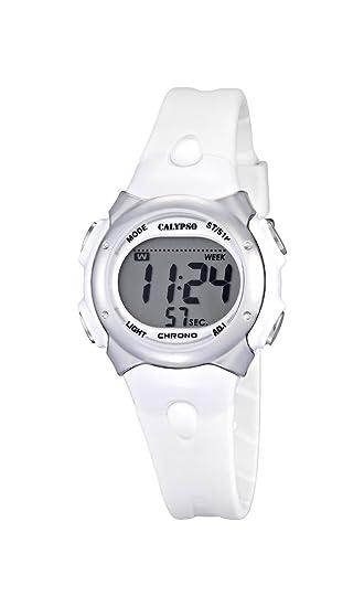 Reloj Digital de la Marca Calypso para Chicas, con Pantalla Digital LCD, con Esfera Digital y Correa de plástico de Color Blanco.