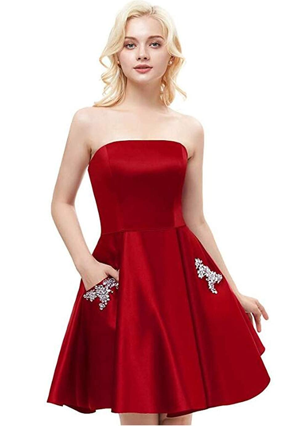 Yiweir Womens A-Line Strapless Homecoming Dresses 2019 Short Formal Bridesmaid Gowns with Beaded Pockets YH001