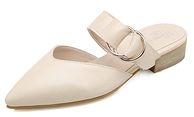 Easemax Damen Elegant Spitze Zehe Flach Slip on Zierschnalle Mules Sandalen