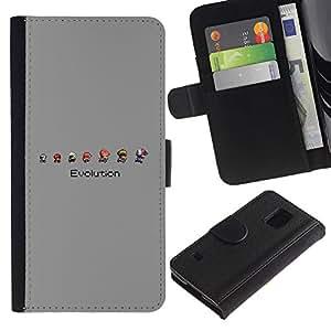 Protector de cuero de la PU de la cubierta del estilo de la carpeta del tirón BY RAYDREAMMM - Samsung Galaxy S5 V SM-G900 - Mario Evolución