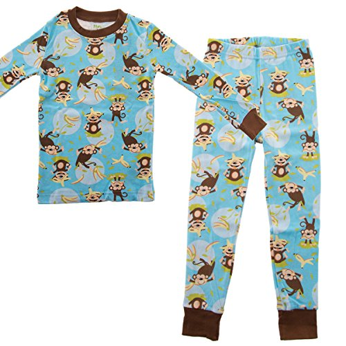 Toddler Monkey (PLove Kids Two Piece Organic Cotton Pajamas Little Boys Toddler PJs Pants Shirt Happy Monkey 4T   chest  20.75 inches  bottom length  23.25 inches)