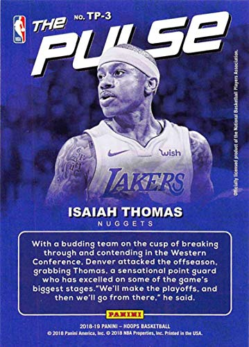 f552fc4f208 Amazon.com  2018-19 NBA Hoops The Pulse  3 Isaiah Thomas Denver Nuggets  Official Trading Card made by Panini  Collectibles   Fine Art