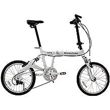 Downtube 9FS White Folding Bike - 9 Speed Full Suspension