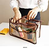 Clear Handbag Organizer See Through Cosmetic Gadget Insert Purse Organiser Transparent Makeup Travel Pouch Liner with Handle Brown by Q Girl