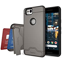 Google Pixel 2 Case, Teelevo [Card Slot Holder] Dual Layer Shock Absorbent Wallet Case with Credit Card Holder and Kickstand [Heavy Duty Protection] for Google Pixel 2 (2017) - Gunmetal