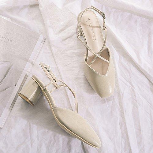avec hauts chaussures femelle talons strap pointu une épais femelle Sandales GAOLIM Sandales Cross beige Baotou avec p0788q
