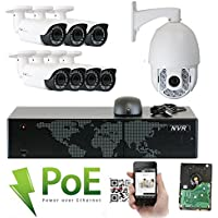 GW Security 8 Channel HD 1920p Security System with 4TB HDD, 7 HD 5MP 1920p 2.8-12mm Varifocal Outdoor Indoor PoE IP Cameras, and 1 20X Zoom 4MP 1520p IP PTZ Camera