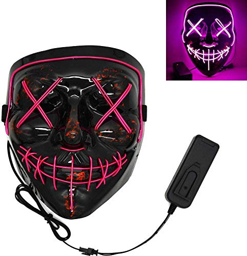 3-Modes Halloween Scary Mask Cosplay Wire Led Light Up Costume Mask Purge Movie (Purple)