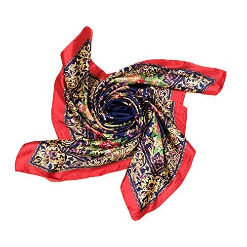 Kook Club Women's Silk Feeling Head Scarf for Sleeping Headband Headdress 10 Red Side One Piece