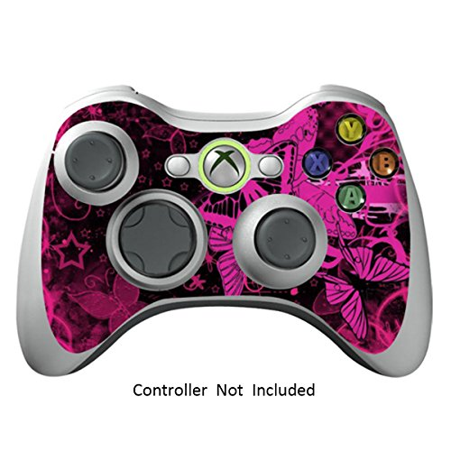 Skin Stickers for Xbox 360 Controller - Vinyl High Gloss Sticker for X360 Slim Wired Wireless Game Controllers - Protectors Stickers Controller Decal - Pink Butterfly [ Controller Not Included ]