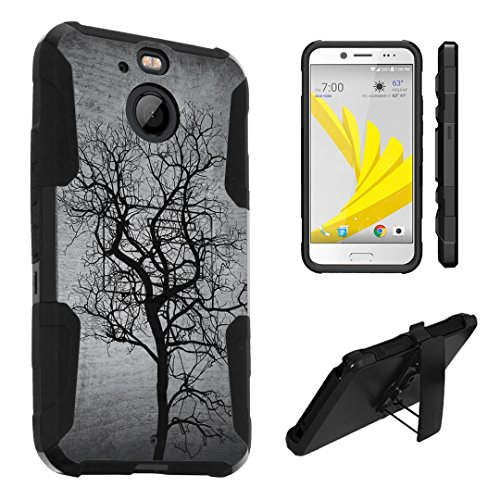 HTC Bolt Case, HTC 10 Evo Case, DuroCase Hybrid Dual Layer Combat Armor Style Kickstand Case w/ Belt Clip Holster Combo for Sprint HTC Bolt / HTC 10Evo - (Black Tree) - Evo Black Tree