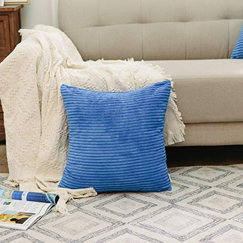 NATUS WEAVER Striped Corduroy Euro Sham Cushion Cover for Sofa, 24 x 24 inch (60 cm), Royal Blue