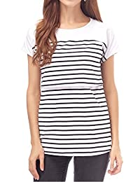 Smallshow Women's Maternity Nursing Tops Striped Breastfeeding T-Shirt