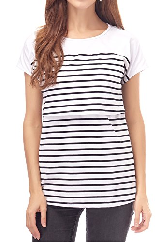 Smallshow Women's Maternity Nursing Tops Breastfeeding T-Shirt Large White by Smallshow