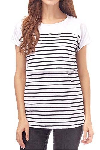 21cf16aa599 Smallshow Women's Maternity Nursing Tops Striped Breastfeeding T-Shirt