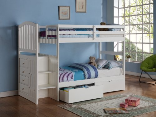 Donco Kids Arch Mission Stairway Bunk Bed in White Built-in Chest Under-Bed Drawers