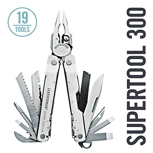 LEATHERMAN - Super Tool 300 Multitool with Premium Replaceable Wire Cutters and Saw, Stainless Steel with Leather Sheath ()