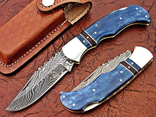 (FAYYAZ BROTHERS Handmade Damascus Steel Pocket Folding Knife/Pocket Knife AA-15266 to 15270 Back Lock (Blue Colored Bone))