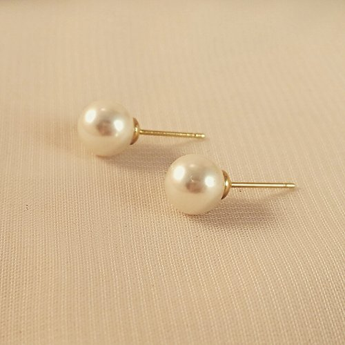 Bridesmaid Gifts & Gift Sets - Classy Round Pearl Earrings (8mm), bridal jewelry