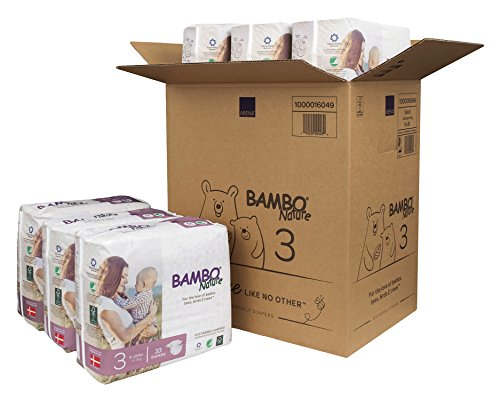 Bambo Nature Eco Friendly Premium Baby Diapers for Sensitive Skin, Size 3 (9-20 lbs), 198 Count (6 Packs of 33)