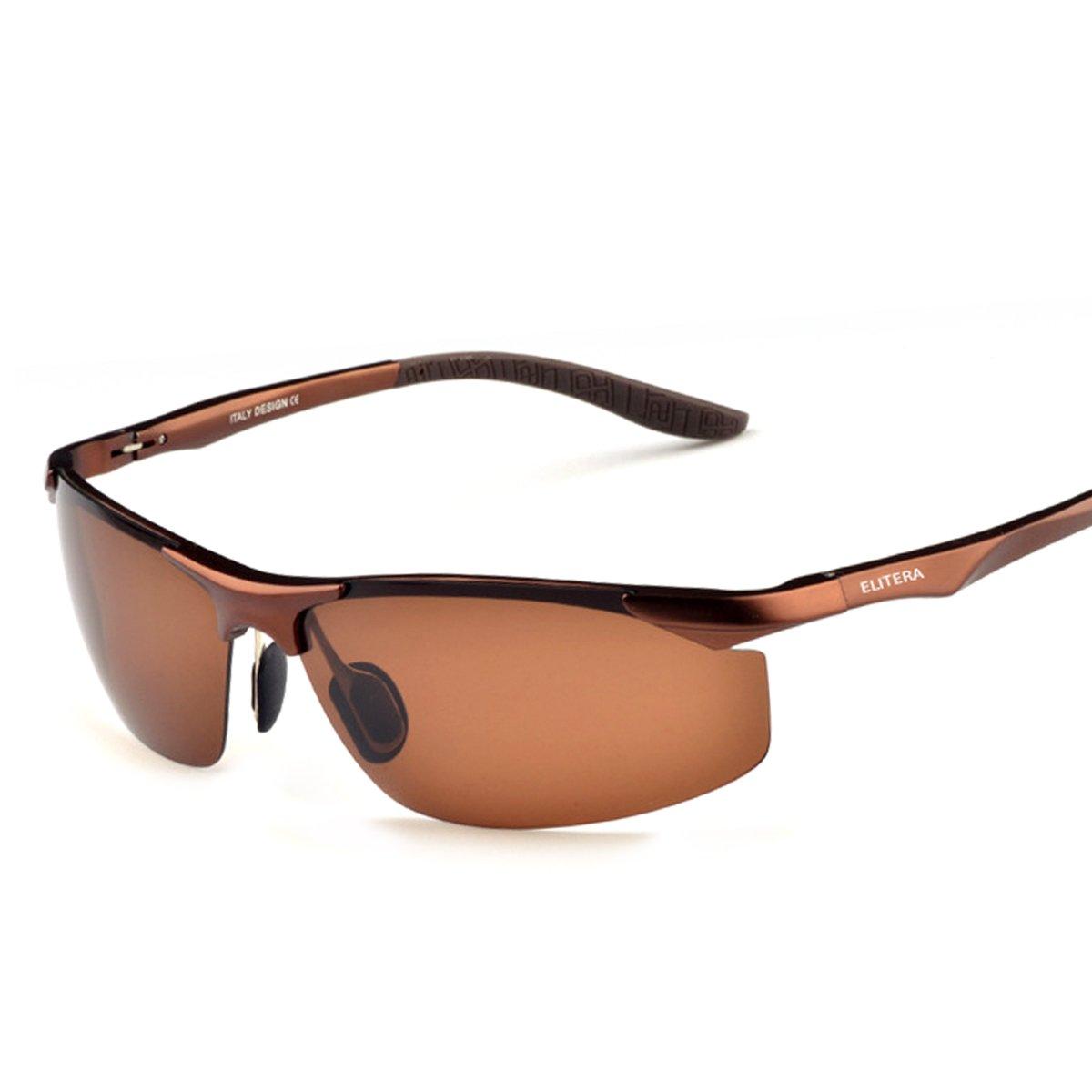 a259554b54 Amazon.com  ELITERA Aluminum Magnesium Alloy Polarized Sunglasses Mens For  Sports Driving Traval E8179 (BLACK GRAY