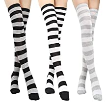 Long Striped Thigh High Socks 3 Pairs for Women Over Knee Stockings