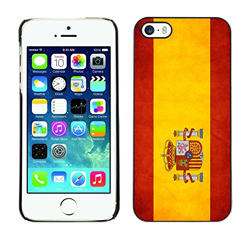 Omega Case PC Polycarbonate Cas Coque Drapeau - Apple iPhone 5 / 5S ( Spain Grunge Flag )