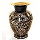 Skywalk Hand Crafted Metal Brass Flower VASE with BIDRI NAKKASHI Work, Art, for Home Decoration and Gifting