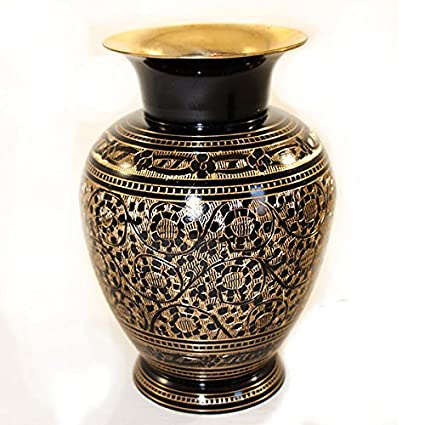 Buy Hand Crafted Metal Brass Flower Vase With Bidri Nakkashi Work