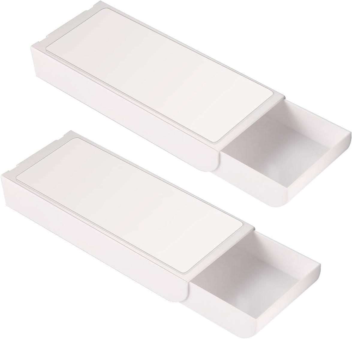 Cassetto portapenne portapenne vassoio sotto la scrivania adesivo nascosto contenitore per cancelleria organizer invisibile per trucchi ripiano inferiore per ufficio scuola casa scrivania 2 pezzi