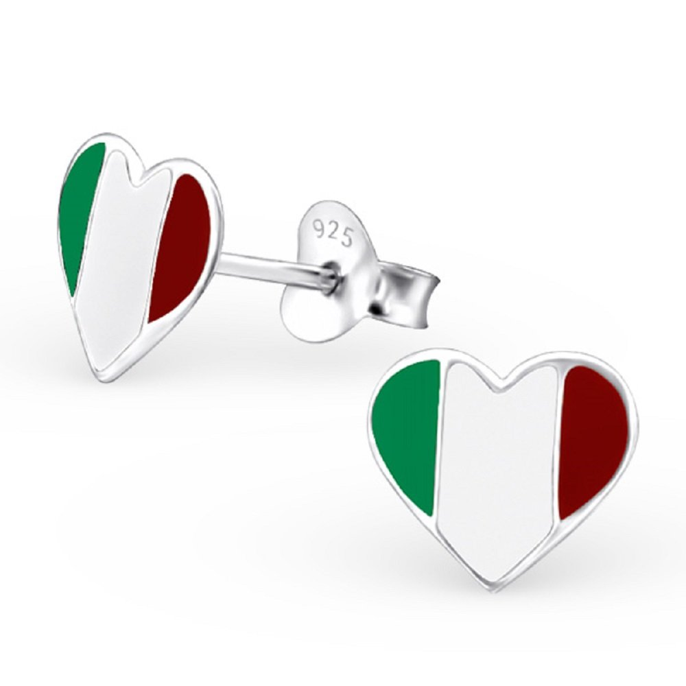 925 Sterling Silver Italy Heart Stud Earrings 13273