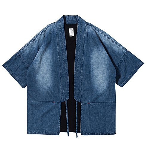 - LifeHe Men's Vintage Denim Jacket Cloak Kimono Cardigan with Belt (Blue, M)
