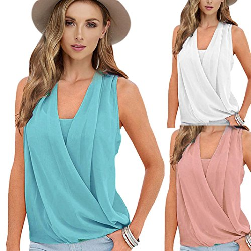 TOPUNDER Solid Top Chiffon Sleeveless Vest Blouse Casual Tank Loose Tops T-Shirt for Women