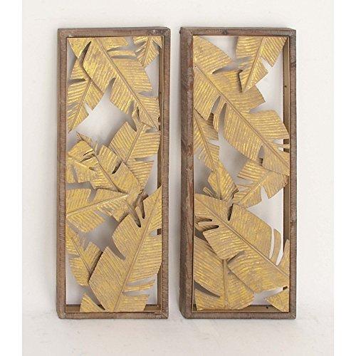 Benzara Metal Wall Sculptures Bm118583 Benzara Palm Leaf Wall Decor Assorted 2 13 X 34 X 1 Inches Gold