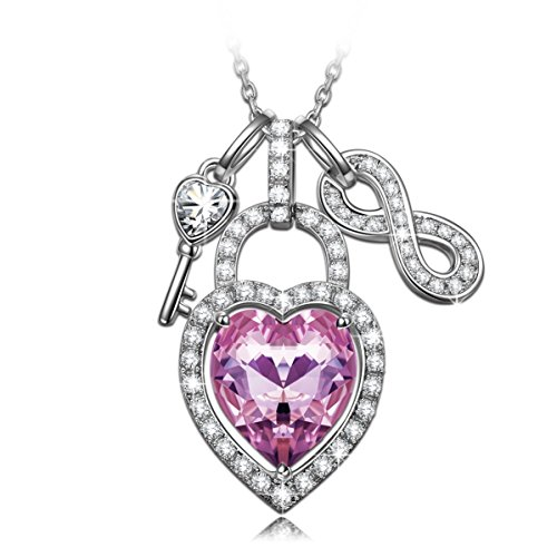 (NINASUN Women Necklace Pink Heart Necklace s925 Sterling Silver Pendant Necklace Open Your Heart Infinity Purple Swarovski Jewelry Her Birthday Anniv from Son for Mom Girlfriend Wife )