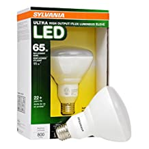 Sylvania Home Lighting 79168 Sylvania Ultra Led Light Bulb Dimmable 11W Replacing 65W Halogen BR30/Medium Base E26/2700K-Warm White
