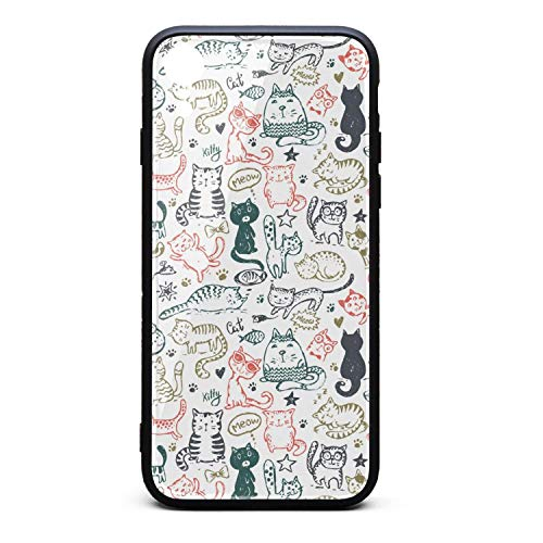 Fashion Phone Case for iPhone XR Funny Cat and Mice Fish Star Heart Rubber Frame Tempered Glass Covers Protective Scratch-Resistant Skid-Proof Never Fade Cell Cases Hippie Fancy