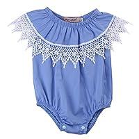 Infant Baby Girl Romper Blue Bodysuit Jumpsuit Outfits Sunsuit Off Shoulder C...