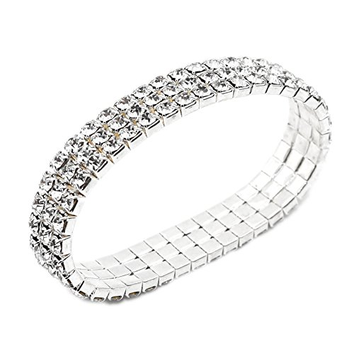 JSEA 3 Rhinestone Bracelet Stretch Womens Elastic Bracelet Bangles Girls Small Wrist
