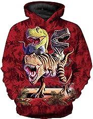 JSJCHENG 3D Dinosaur Print Hoodies for Boys Girls Kids Hooded Pullover Sweatshirts 4-15 Years