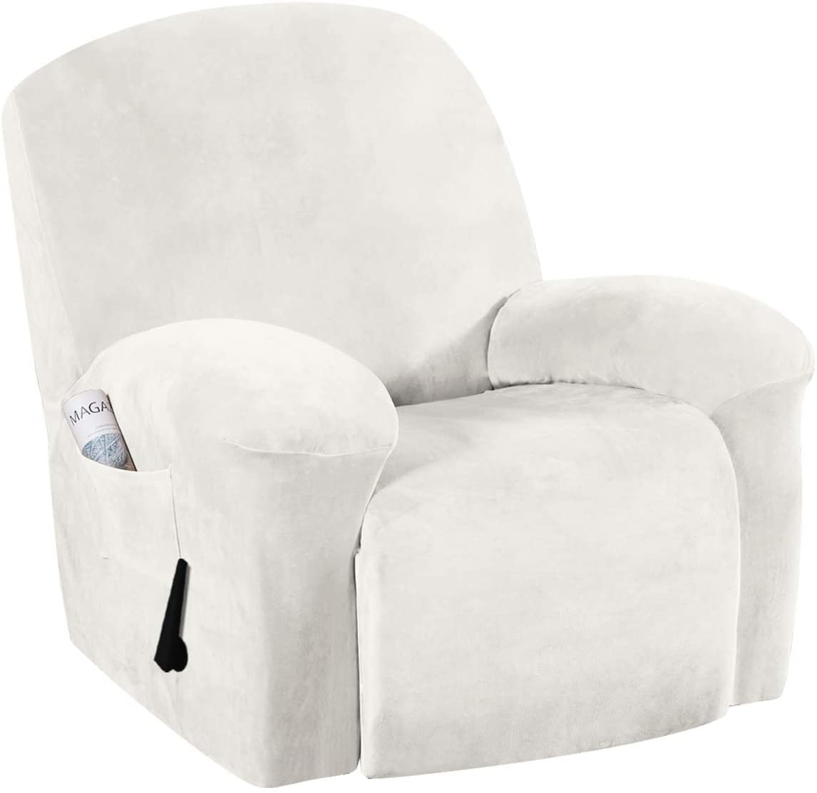 1-Piece Furniture Cover Ultra Stretch Velvet Plush Slipcovers Furniture Protector with Elastic Bottom, Anti-Slip Foams Attached Couch Shield Recliner Sofa Cover (Recliner, Ivory)
