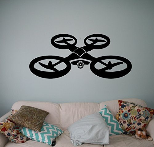 Air Drone Wall Vinyl Decal Quadcopter Wall Sticker Aircraft Home Wall Art Decor Ideas Interior Removable Kids Room Design 19(drn)