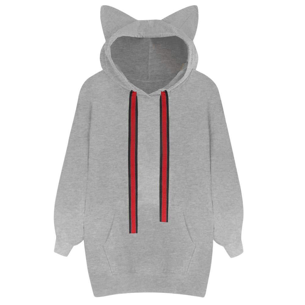 TOOPOOT Womens Sweatshirt,Long Sleeve Cat Ear Casual Loose Hoodies Hooded with Pocket