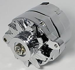 GM CHROME 120 AMP 10SI 1 ONE OR 3 THREE WIRE SBC BBC CHEVY ALTERNATOR ES-1001-C